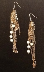 Gold Chain and White Beaded Dangle Earrings