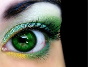 Green Eyes_ green and yellow eye makeup