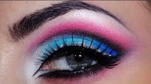 Pink and Blue Sparkle Eye Makeup