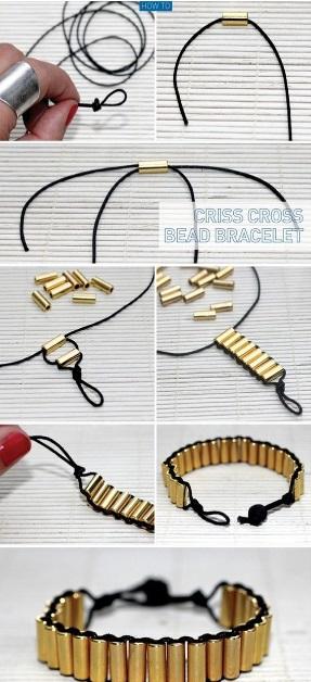 DIY Criss Cross Bead Bracelet